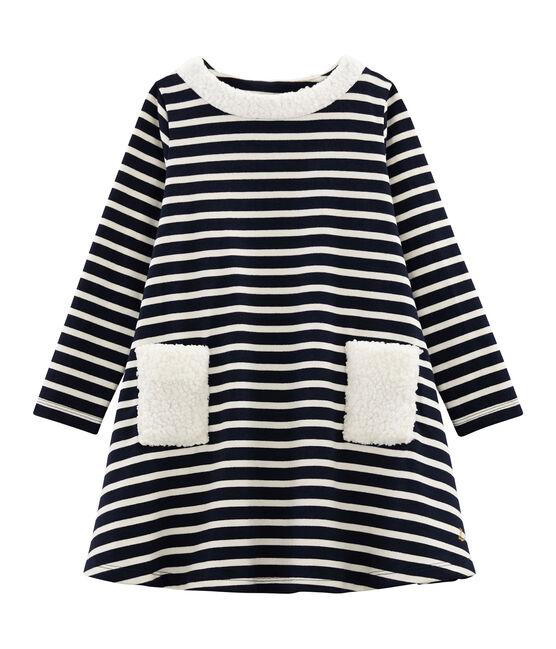 Langärmeliges Kinderkleid für Mädchen blau Smoking / beige Coquille