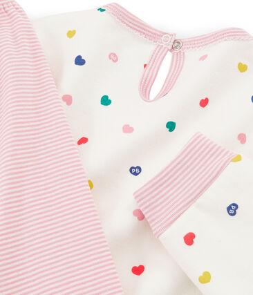 Langärmliges Nachthemd aus Molton für Mädchen weiss Marshmallow / weiss Multico