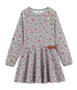 Gemustertes Kleid Mädchen grau Beluga / weiss Multico