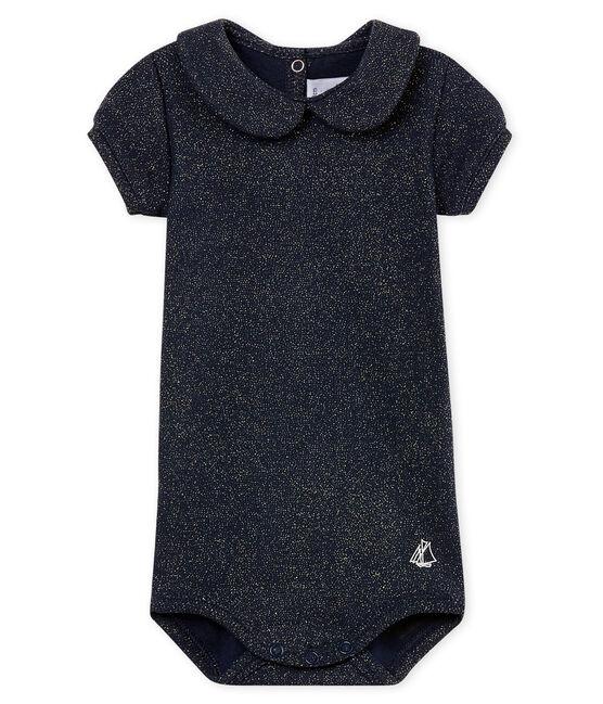 Kurzärmeliger baby-body mit glänzendem bubikragen mädchen blau Smoking / gelb Or