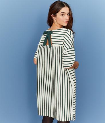 Kurzärmliges Kleid für Damen beige Coquille / grün Sousbois