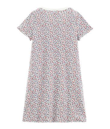 Rippstrick-Nachthemd für kleine Mädchen weiss Marshmallow / weiss Multico