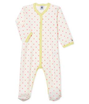 Baby-Strampler aus Rippstrick für Mädchen weiss Marshmallow / rosa Gretel