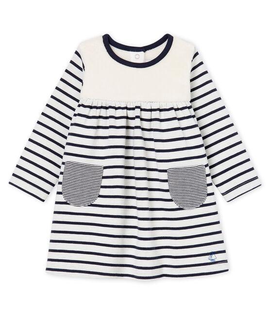 Langärmeliges gestreiftes Babykleid für Mädchen weiss Marshmallow / blau Smoking Cn