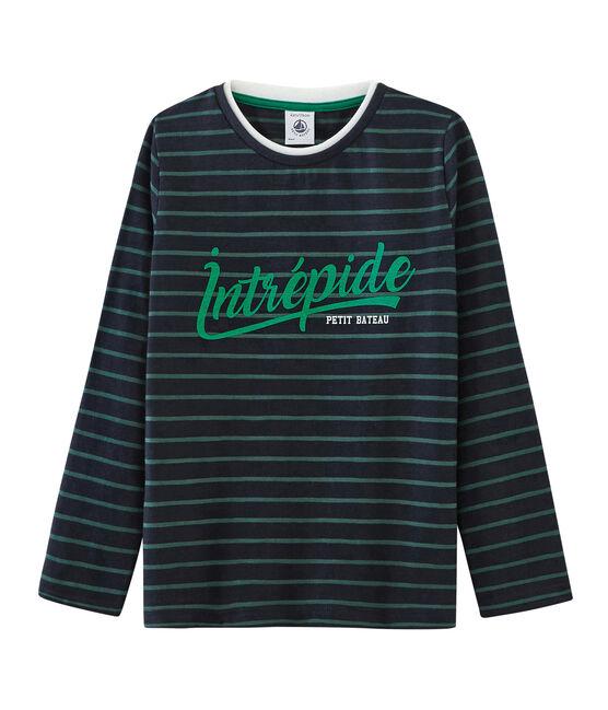 Langärmeliges Kinder-T-Shirt Jungen blau Smoking / grün Sousbois
