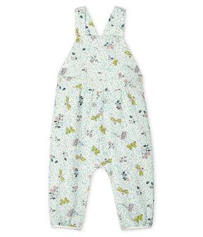Lange Baby-Latzhose aus Molton für Mädchen weiss Marshmallow / weiss Multico