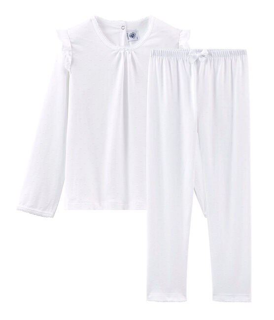 Pyjama aus dünner Baumwolle für kleine Mädchen weiss Ecume