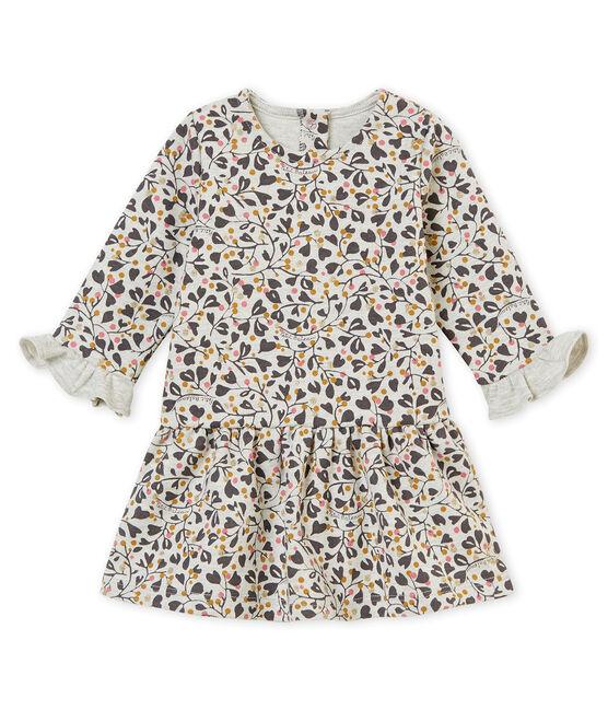Baby MädchenKleid mit Print grau Beluga / weiss Multico
