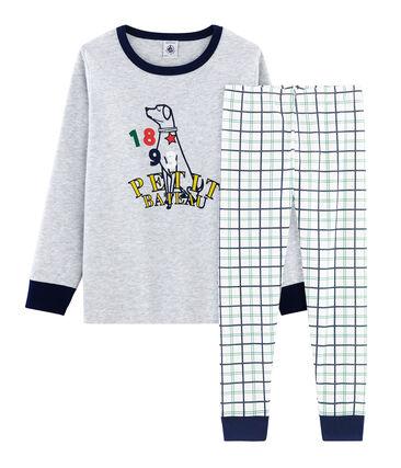 Pyjama aus Doppeljersey und Rippstrick für kleine Jungen weiss Marshmallow / weiss Multico