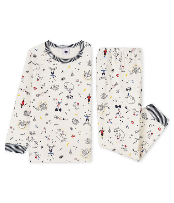 Samt-Pyjama mit festlichem Aufdruck für kleine Jungen weiss Marshmallow / weiss Multico