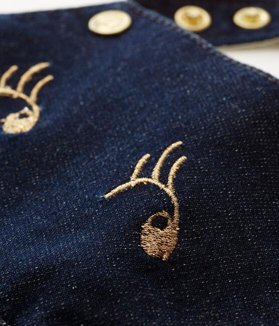 Kurze baby-stricklatzhose mädchen blau Jean