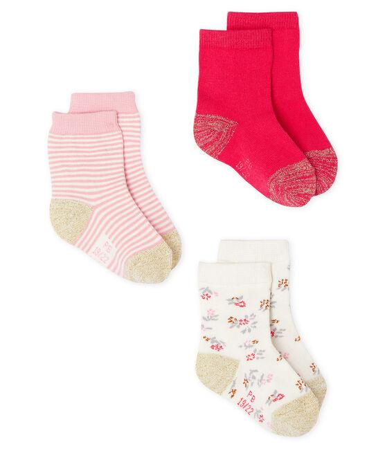 3er-Set Babystrümpfe Mädchen rosa Charme