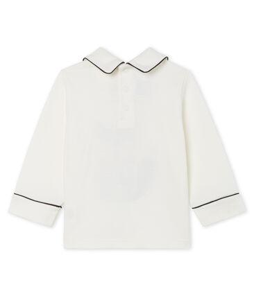 Langärmeliges Baby-T-Shirt für Jungen mit Kragen weiss Marshmallow