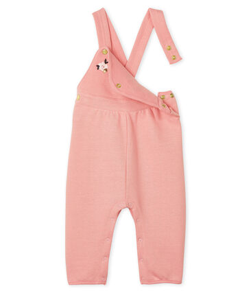 Lange Baby-Latzhose aus Molton für Mädchen rosa Charme