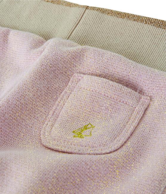 Glitzernde Baby MädchenHose aus Molton rosa Joli / gelb Dore