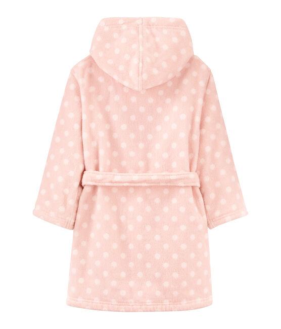 Frottee-Bademantel für kleine Mädchen rosa Minois / weiss Lait
