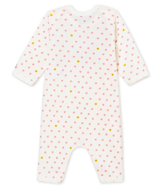 Baby MädchenStrampler ohne Fuß mit Lätzchen weiss Marshmallow / weiss Multico