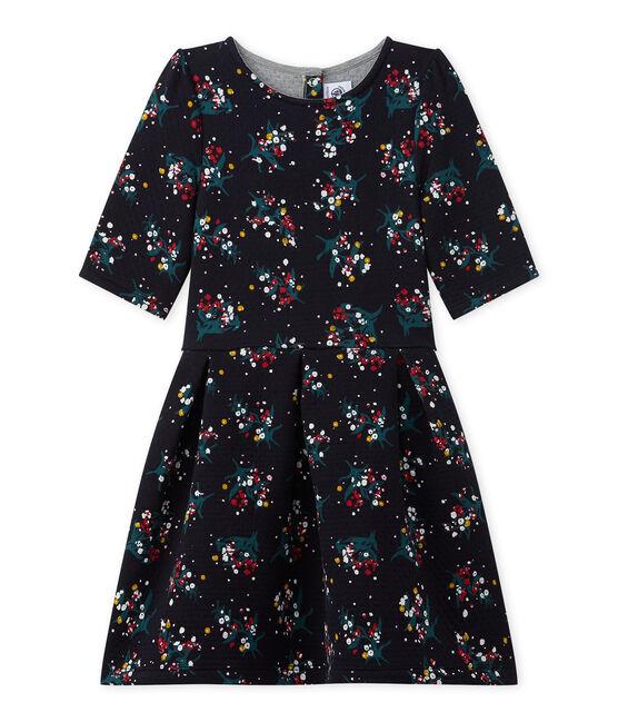 Gestepptes Mädchen-Kleid aus gedoppeltem Jersey mit 3/4-Ärmeln blau Smoking / weiss Multico