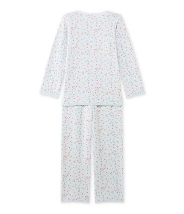 Mädchen-Schlafanzug aus Velours-Frottier blau Bocal / weiss Multico