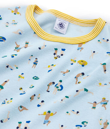 Rippstrick-Kurzpyjama für kleine Jungen blau Toudou / weiss Multico