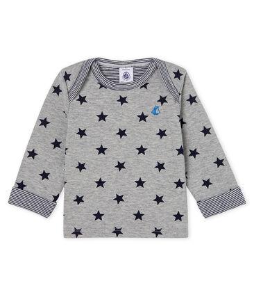 Langärmeliges gemustertes Baby-T-Shirt für Jungen grau Subway / blau Smoking