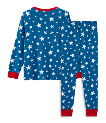 Rippstrick-Pyjama für kleine Jungen blau Major / weiss Ecume
