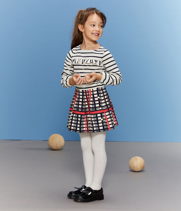 Plisseerock mit Karomuster für Mädchen weiss Marshmallow / weiss Multico