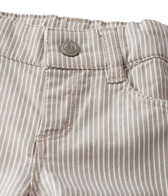 Gestreifte Baby-Jungen-Hose grau Minerai / weiss Lait