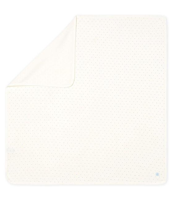 Decke für Neugeborene aus Rippstrick weiss Marshmallow / blau Acier