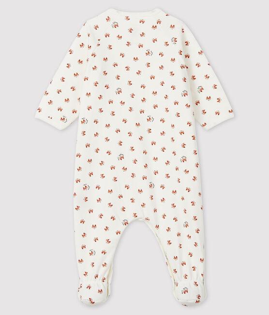 Baby-Strampler aus Molton mit Fuchsmotiv weiss Marshmallow / weiss Multico