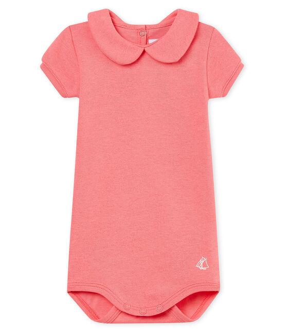 Kurzärmeliger baby-body mit glänzendem bubikragen mädchen rosa Cupcake / rosa Copper
