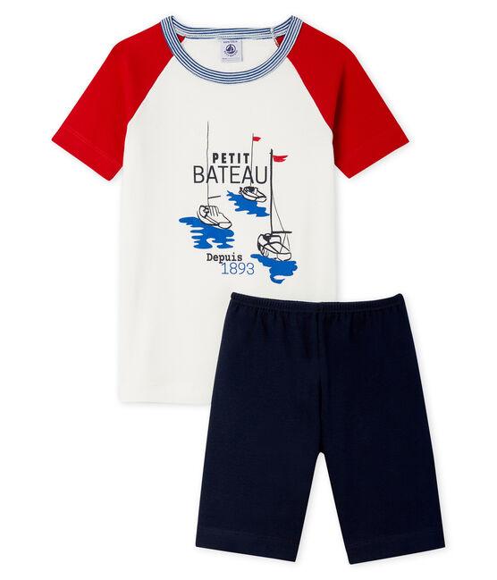Sehr eng anliegender Rippstrick-Kurzpyjama für kleine Jungen blau Smoking / weiss Multico