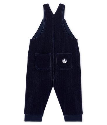 Lange Baby-Latzhose aus geripptem Samtstrick für Jungen blau Smoking