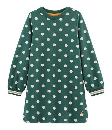 Gemustertes Kleid Mädchen grün Sousbois / weiss Marshmallow