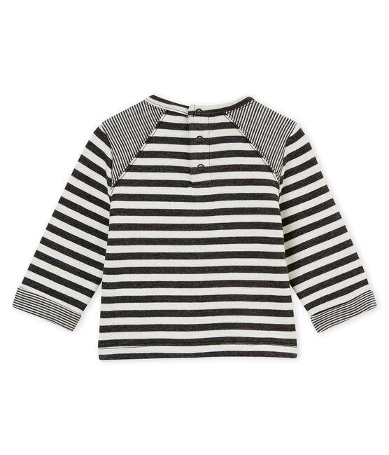 Gestreiftes Baby Jungen T-Shirt schwarz City / weiss Marshmallow