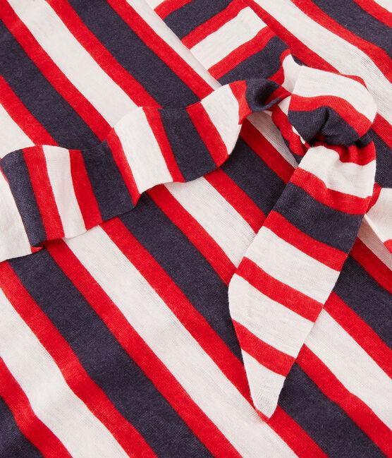 Leinenkleid für Damen weiss Marshmallow / rot Peps