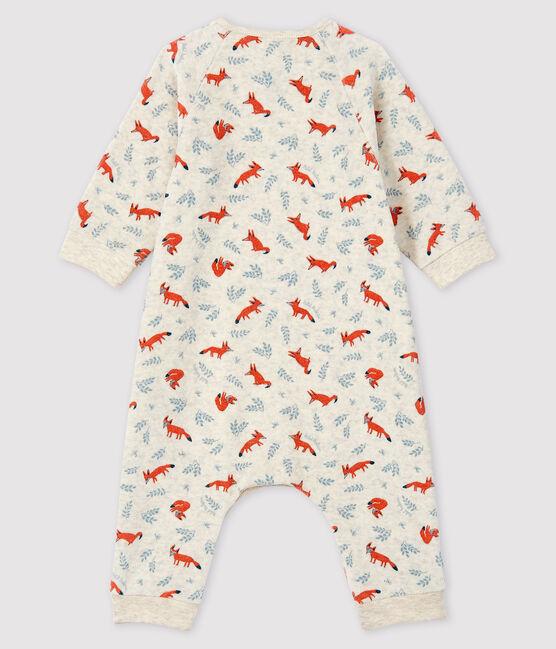 Baby-Langoverall für Jungen mit Fuchs-Motiv aus Velours beige Montelimar / weiss Multico
