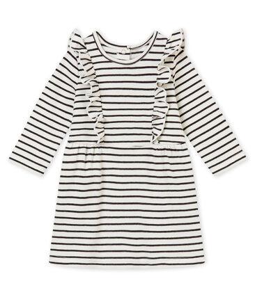 Baby MädchenKleid mit Marinestreifen weiss Marshmallow / schwarz City