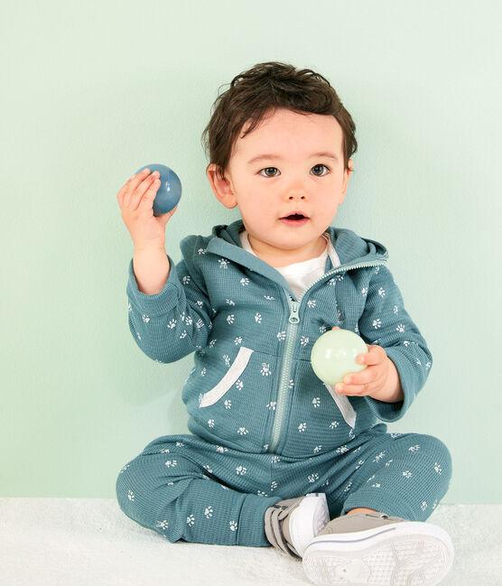 Gemustertes Baby-Kapuzensweatshirt blau Brut / weiss Marshmallow