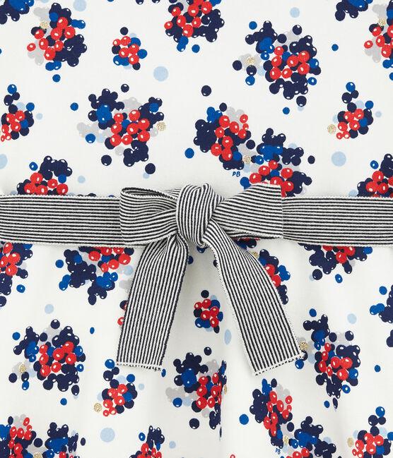 Geblümtes Kleid aus Molton weiss Marshmallow / weiss Multico