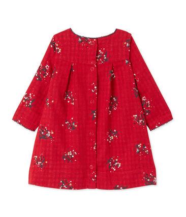 Baby-Mädchen-Kleid aus gedoppeltem Jersey mit Print rot Froufrou / weiss Multico