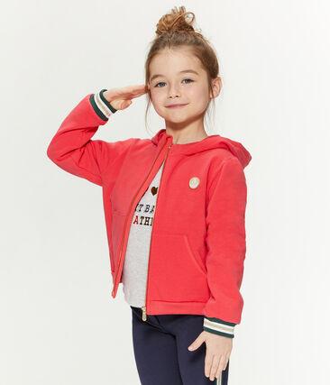 Kinder-Kapuzensweatshirt Mädchen rot Signal