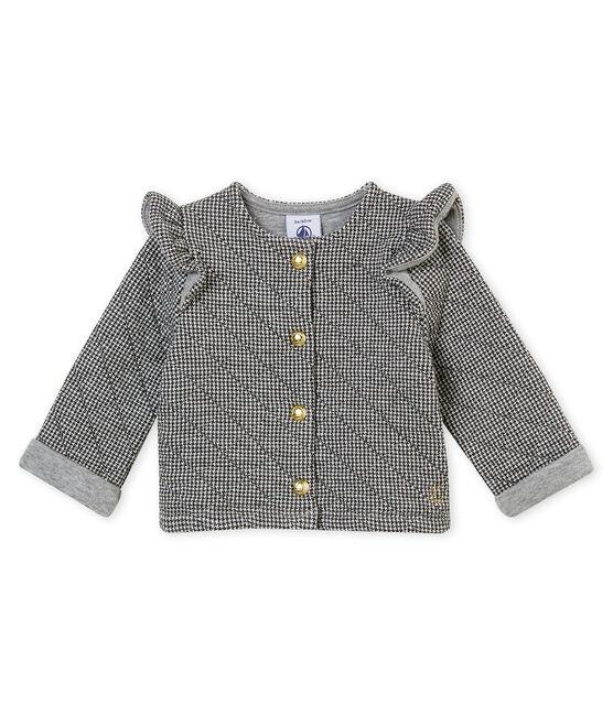 Baby MädchenCardigan aus gedoppeltem Jersey mit Hahnentritt•Muster grau Capecod / weiss Marshmallow