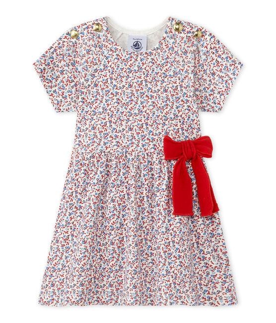 Bedrucktes Baby-Mädchen-Kleid weiss Marshmallow / rot Terkuit