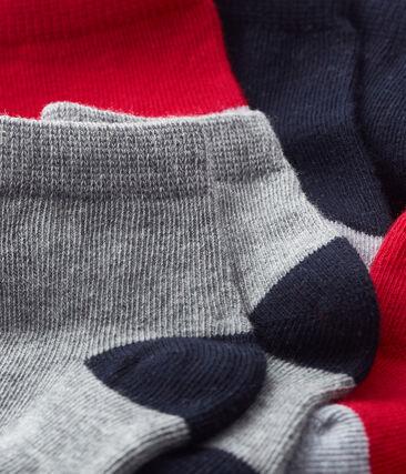 5er-Set Basic-Babystrümpfe Jungen blau Smoking / rot Terkuit