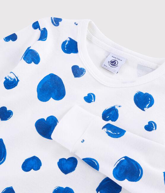 Snugfit-Pyjama mit blauen Herzchen für kleine Mädchen aus Rippstrick. weiss Marshmallow / blau Bleu