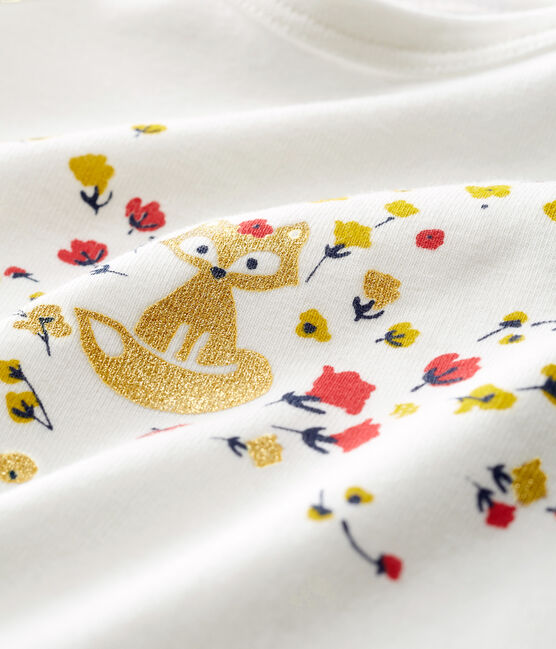 Langärmeliges Baby-T-Shirt für Mädchen weiss Marshmallow