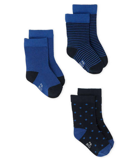 3er-Set Babystrümpfe für Jungen blau Smoking / blau Limoges