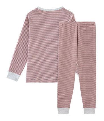 Rippstrick-Pyjama für kleine Jungen rot Carmin / weiss Marshmallow