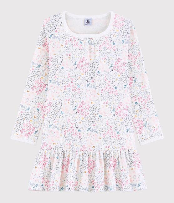 Rippstrick-Nachthemd für kleine Mädchen weiss Marshmallow / rosa Minois